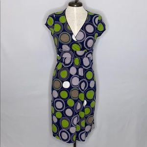 Boden Graphic Circle Print Crossover Bodice Dress